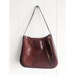 Genuine Leather Hobo Shoulder Bag Womens Brown Slo